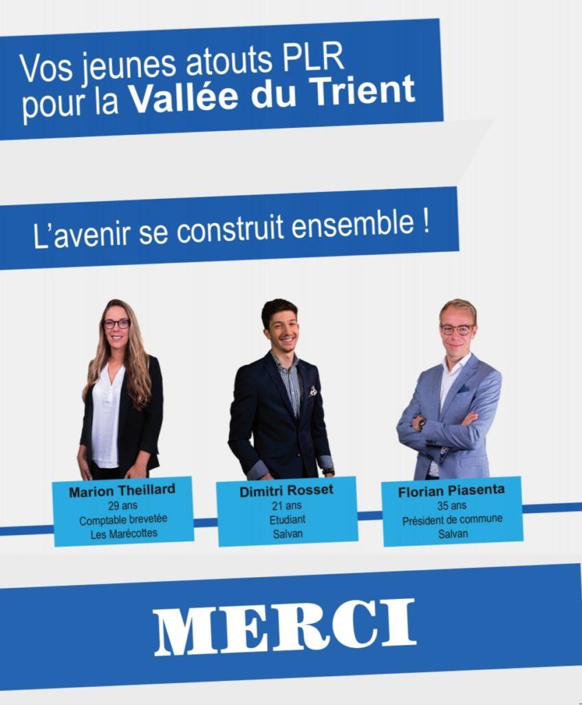 L'avenir se construit ensemble, vos jeunes atouts PLR pour la Vallée du Trient, Marion Theillard, Dimitri Rosset et Florian Piasenta.